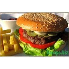 Бутерброд с печёночной котлетой и картофелем фри